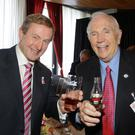 Then Taoiseach Enda Kenny, pictured with former Coca-Cola director Donald Keough, at Whites Hotel, Wexford when Coca-Cola opened its Wexford plant in 2011.