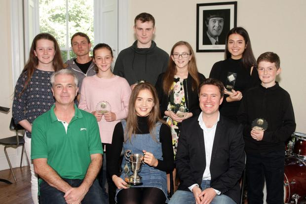 High achievers at the Wexford School of Music, back row: Una Maguire (guitar), Egon Pril (jazz piano), Amy Richards (voice), Finn Goodison (drums), Aoife Goodison (voice), Alex McGuinness (violin) and Cian Bosworth (guitar); Front row: Karl Richards, school director; Aisling Gouldson, winner of the Alan Cutts Cup and David Creevy, school principal.