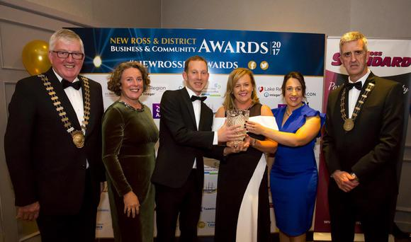 Willie Fitzharris, Cathaoirleach; Sinead Casey, Wexford County Council district manager; David Looby, New Ross Standard, sponsor; Mary Browne, winner, Person of the Year; Anita Furlong, New Ross Standard and John McSweeney, Chamber president.