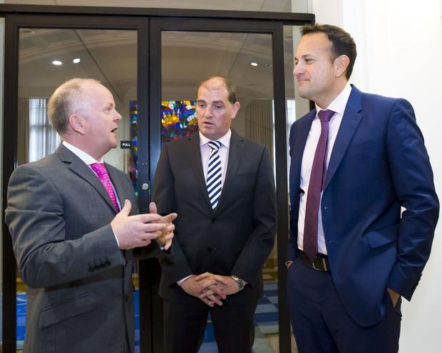 Tomás O'Leary of MosArt Architects; Minister Paul Kehoe and Taoiseach Leo Varadkar.