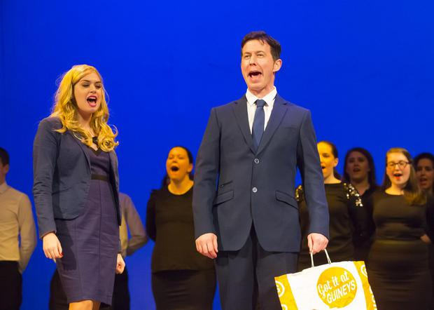 Ashley Doran and Keith Flanagan on stage during Legally Blonde at St Michael's Theatre, New Ross