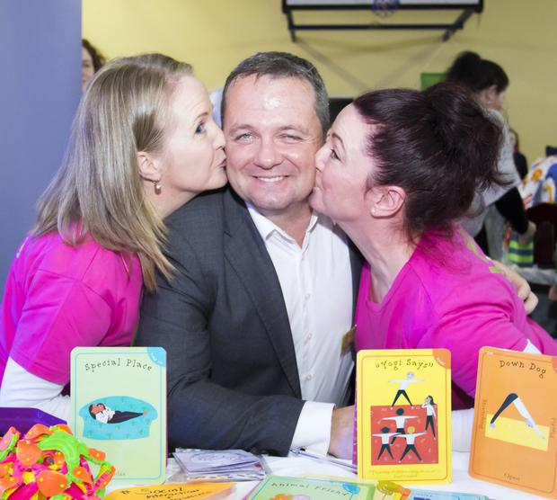 Davy Fitzgerald with Deirdre and Amanda Nugent from Yama Yoga for children