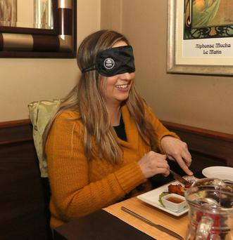 Dine in the Dark in aid of NCBI in the Holy Grail restaurant. Linda Malone from Inistioge
