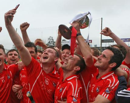 Eddie Power and members of the St Mogues team Facetiming Rory Whelan after their win