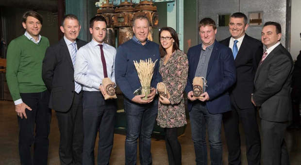 At the 2017 Irish Malting Barley Excellence Awards: Koenraad Dumont, Group Chief Commercial Officer at Boormalt, John Crean, Max Potterson, winner Edward Harpur, Catherine Harpur, Paul Mernagh, Aidan Crowe, Operations Manager at Diageo Ireland and Peter Nallon, COO at Boortmalt