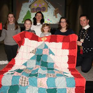 Adult/Family winner Isobel English, Coonogue, with 'Santa's Letter Box', Michelle Doyle from Clonee Lower, 2nd with 'Baby Girl's Christmas Tree' rag quilt, with her children Hannah and Elese, and Cliona Connolly, Wexford Co Council and Cllr John Hegarty