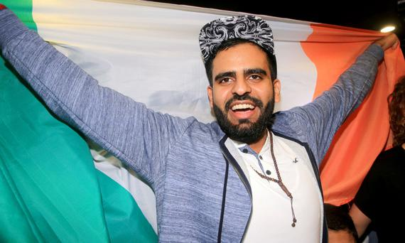 Ibrahim Halawa at Dublin Airport on his arrival home. Photo: Gerry Mooney