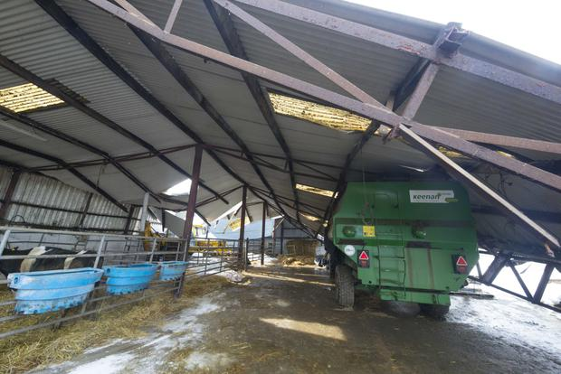 The damage at Winterheights, Taghmon, after sheds collapsed