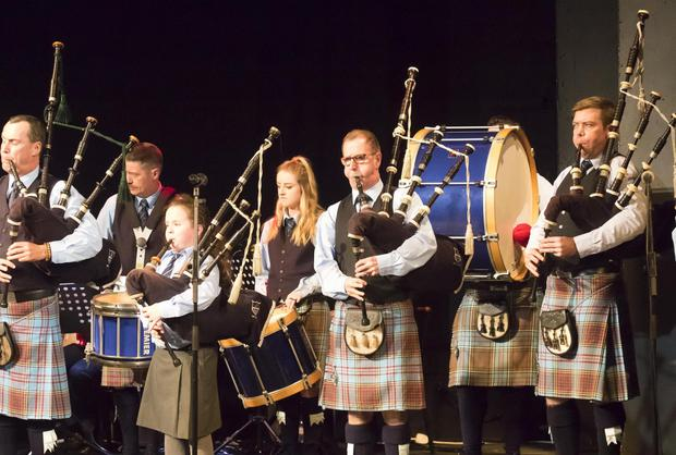 Members of New Ross and District Pipe Band on stage at St Michael's Theatre during last year's Celtic Weave concert