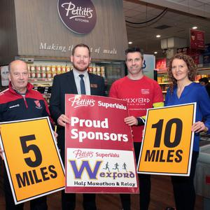 At the launch in Pettitt's SuperValu St Aidan's: Edwina Colfer (Wexford County Council), Mick Farrell (DMP Athletic Club) Nicky Byrne (manager, Pettitt's SuperValu St Aidan's), Eoin Ryan (race organiser) and Tracey Morgan (Wexford Chamber)