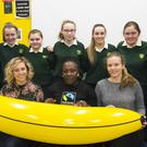 The Fairtrade committee with speakers Ciara Hollard of Fairtrade Ireland, Ghana Fairtrade officer Juliet Arku-Mansah and Fiona Saluk of Fairtrade Ireland