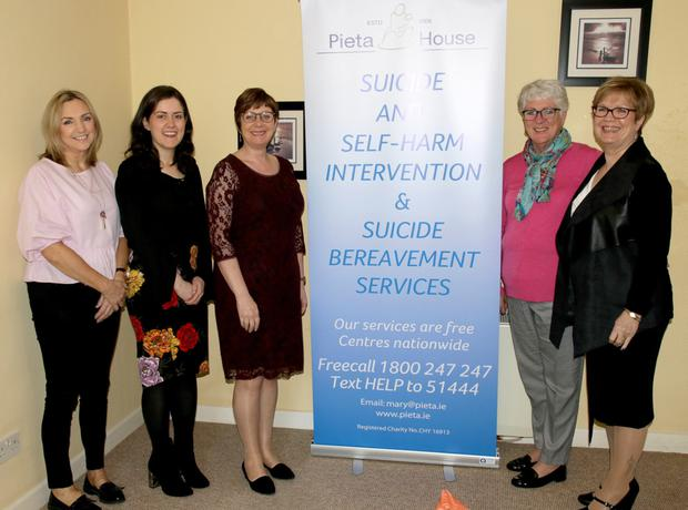 Staff of Pieta House in Wexford: Trish Martin, Sinead Kehoe, Frances Whelan, Sally Griffiths and Pauline Lawlor
