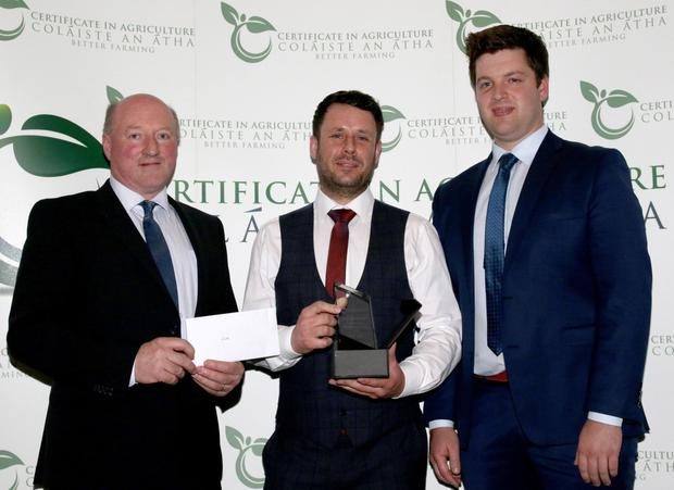 Level 6 Advanced Certificate in Agriculture Student of the Year, Mark Doyle, with Michael Phelan (Redmills) and Denis Brennan (Slaney Foods)