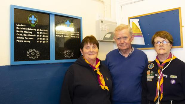 Paddy Delaney, who unveiled the plaque, with Phil Croarkin and Kitty Warren, leaders