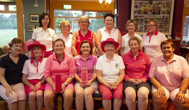 At the prize giving following New Ross Golf Club's 'Pink Day'in aid of Cancer Research. From left, front –Pat Purcell and Marguerite Sutton 2nd; Adeline Foxe and Martina Reidy winner; Liz Roberts, captain and back 9; Mary Dowling and Liz Bennett Gross. Back –Carmel and Ann Fenlon 3rd; Ann Banville 4th; Marie Burford and Bernie Byrne 5th; and Ann Curtis, front 9