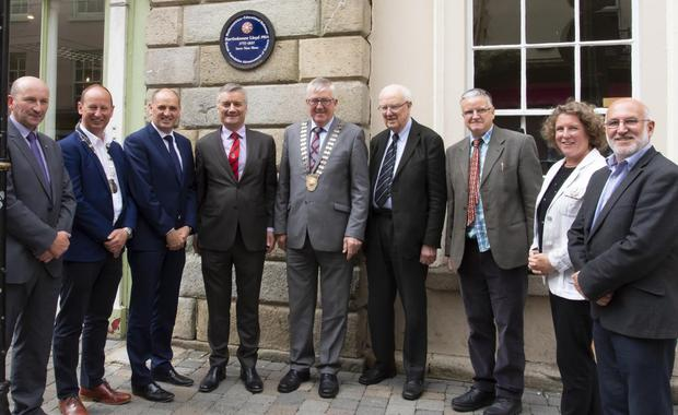 Cllr John Fleming, Lorcan Kinsella, Chamber of Commerce; Minister Paul Kehoe, Provost of Trinity College Prof. Patrick Prendergast, who unveiled the plaque; Cllr Willie Fitzharris, Dr Ronald Cox, Brian Smith National committee, Sinead Casey District manager and Eamonn Hore Director of Services