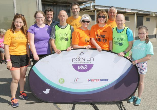 Caroline Lynch (Tralee Parkrun), Joan Ryan (V.I.R. Ambassador), John Dier (event director), Ian O'Grady (Guide), Andy Herring, Noeleen Condron (Guide), Karen Kealy (Carlow Town Parkrun), Stuart Vanderbliake (South East Ambassador Parkrun), Nicky Foley (Guide) and Jane Lynch at Wexford Racecourse