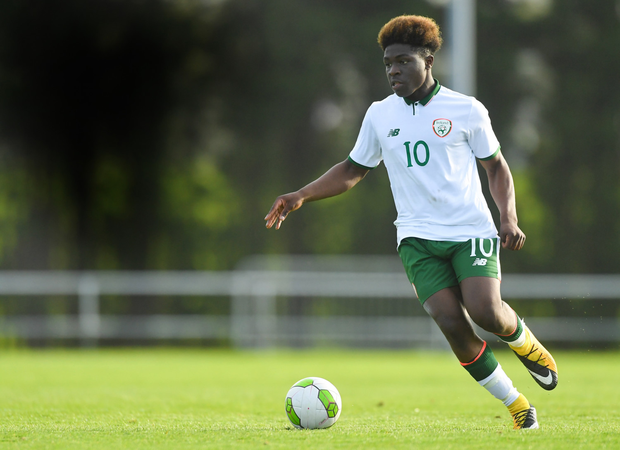 Festy Ebosele in the under-16 friendly between Ireland and Bulgaria in April