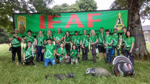 Shannon Mernagh with her fellow-archers who represented Ireland at the European Bowhunter Championships