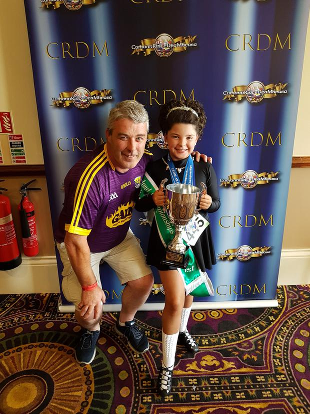 Leila Clarke, pictured with her dad, Billy, won the U10 All-Ireland Irish Dancing championships in City West, Dublin