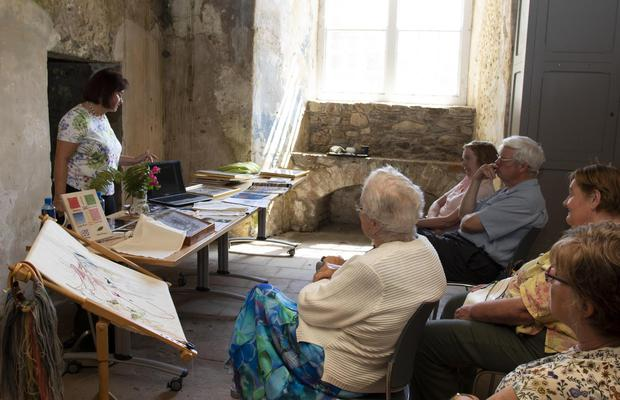 The Ros Tapestry talk at Tintern Abbey with Marion Coady