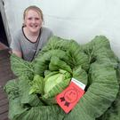 Aimee Redmond with her winning head cabbage at last year's show