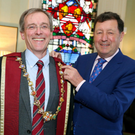 Kenneth Mealy (left) with the outgoing president Professor John Hyland