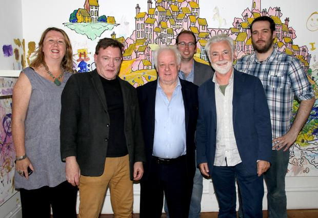 Elizabeth Whyte, Brian Molloy, Jim Sheridan, Dave McGlone, Eoin Colfer and Karl McGlone at the film festival