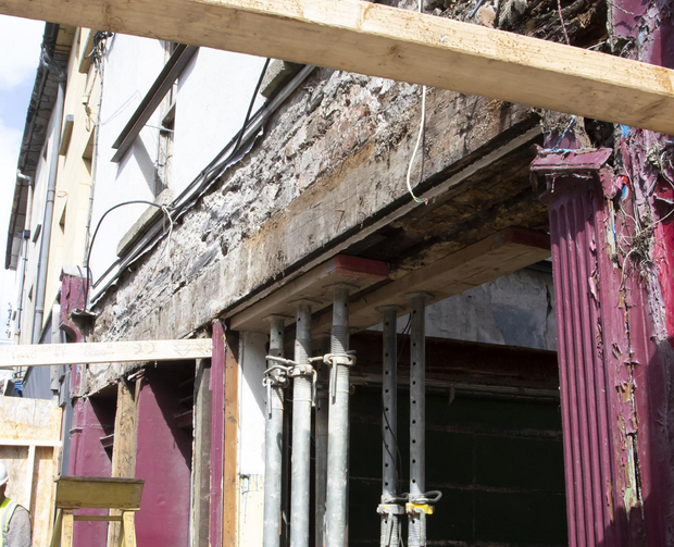 Work goes on at the 180-year-old premises after the July collapse
