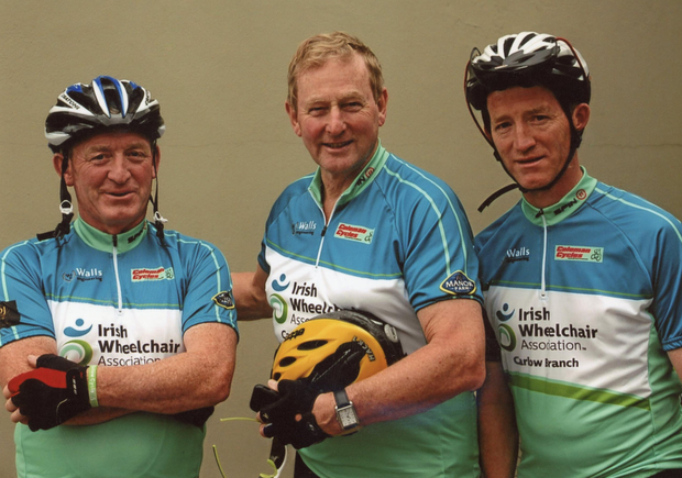 Martin Doyle, Enda Kenny and Ger Doyle at the cycle in Cork