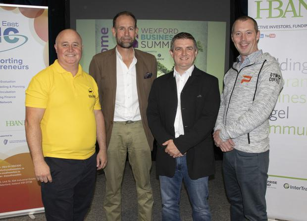 Richard Hobson (Herdsy), Niall McManus (Newslist), Tony Redmond (RSense Bed Sensors), and Ruaira Gough (Paytient Payments), all of whom took part in the Bussiness Pitching Competition