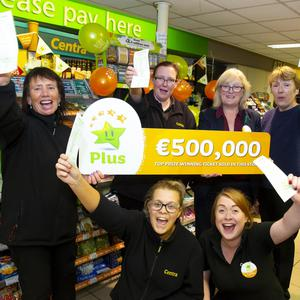 Centra Irishtown staff members, front row: Siobhan O'Neill and Mairead Furlong. Back row: Mary Cullen, Ann Marie O'Brien, manager Maura O'Neill and Chris Bodden celebrating the€500,000 Euromillions winning ticket which was sold in the store last week. Photo;Mary Browne