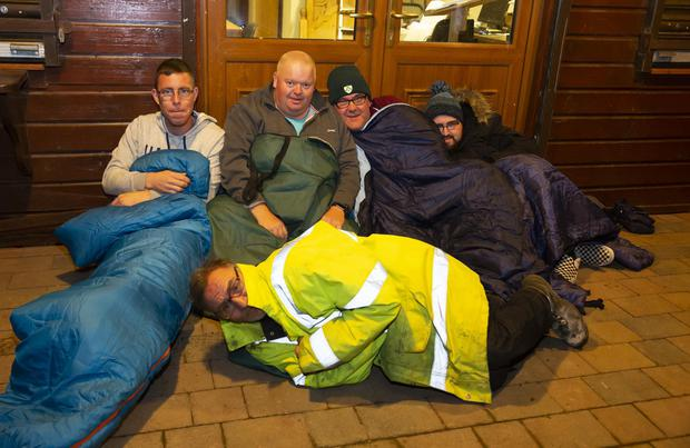 Patrick Murphy, Brian Delaney, Ger Roche, Dylan Roche and John O'Leary (front) taking part in the New Ross men's shed sleep out in aid of the 'Shine A Light' night for Focus Ireland