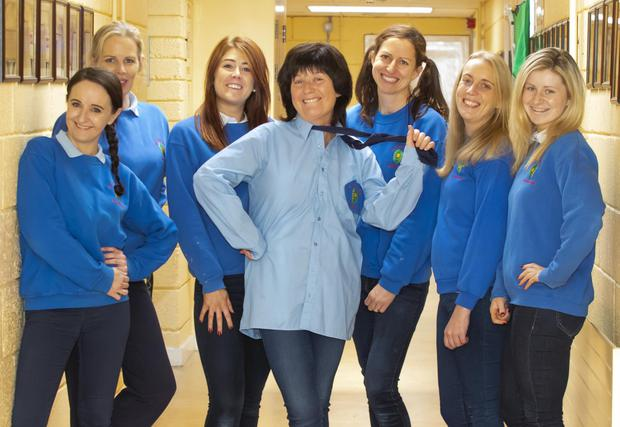 Staff members try the school uniform on for size during the Ramsgrange NS Halloween dress-up day: (from left) Principal Lorraine Kennedy, Ciara Morrissey, Shauna Odlum, Karen Egan, Ciara McPhillipps, Rachel Burrell and Aoife Murphy