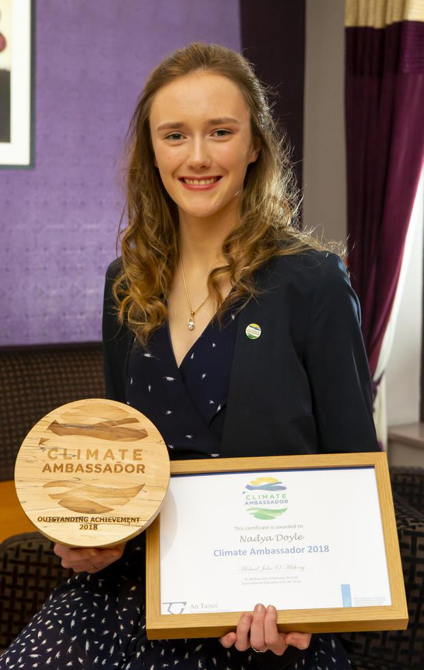 Nadya Doyle from Carrigaddin, Newbawn, a 5th year pupil in New Ross CBS, with her Climate Ambassador award
