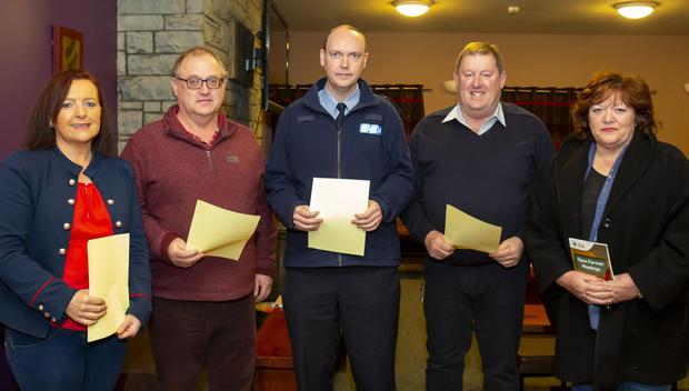 Mary Fitzharris, Ballycullane IFA secretary; Jer O'Mahony, IFA county secretary and Bannow IFA chairperson; Garda John Paul Scallan, JJ Kavanagh, IFA beef chairperson Wexford and Anna Kehoe, IFA Ballycullane chairperson