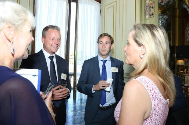 Kevin Doyle, second from left, chatting with Lucy Brown (CEO of the Disability Initiative), and Sophie, Countess of Wessex(Patron of Disability Initiative) at Buckingham Palace