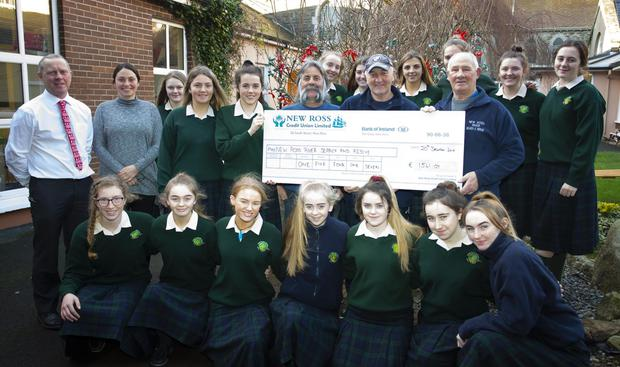 St Mary's school Transition Year students present New Ross River Search & Rescue with €1,541.07.