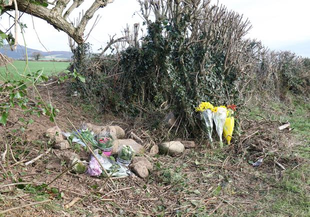 Flowers at the scene of the tragic discovery where a woman's body was discovered in Ballyandrew, Ferns last Monday