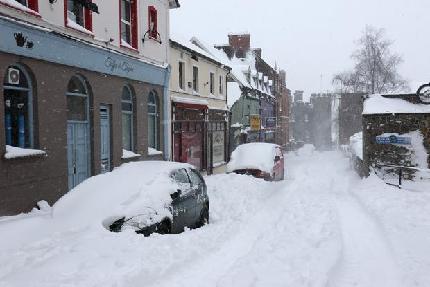 Church Street in Enniscorthy blanketed with snow during last year's cold spell