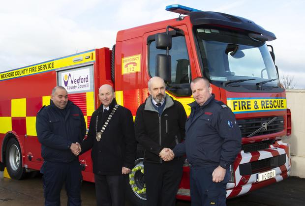 Cyril McGarr, station officer; Cllr John Fleming, Cathaoirleach; Ray Murphy, SA CFO, Wexford County Fire Service; and Andrew Walsh, sub officer
