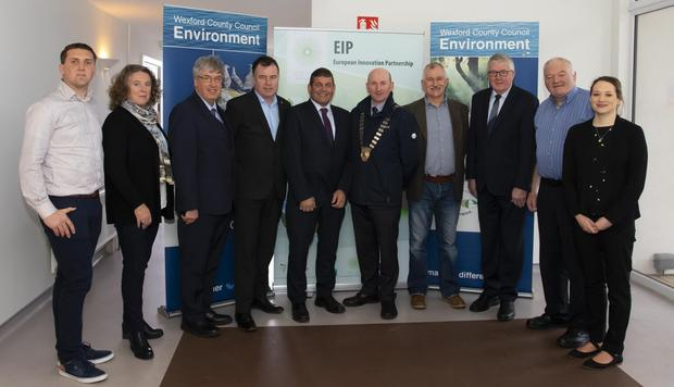 From left: Eoin Kinsella, assistant agricultural scientist, Wexford Co Council; Sinead Casey, district manager, Wexford Co Council; John Carley, director of services, Wexford Co Council; Cllr Michael Whelan; Minister Andrew Doyle; council cathaoirleach John Fleming; Brenda Cooney, senior executive scientist, Wexford Co Council; Cllr Willie Fitzharris; Cllr Martin Murphy; and Dr. Mairead Shore, from the Local Authorities Water Programme