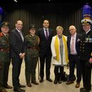 Lieutenant Leanne Nolan and her family, parents John and Anne Nolan, brothers Darren and Adam, along with Major General Kieran Brennan; Minister Paul Kehoe; An Taoiseach Leo Varadkar and Vice Admiral Mark Mellett