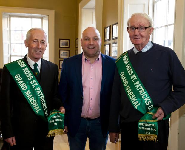 Parade chairperson Cllr Anthony Connick (centre) with grand marshals Tom Doyle and Martin Waters.