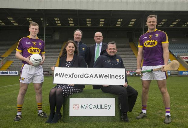 At the announcement of McCauley Pharmacy's €100,000 sponsorship of the Wexford GAA Wellness programme are (from left) front, Michael Furlong, Wexford GAA Senior Football Captain; Geraldine Ramage, McCauley Group Superintendent Pharmacist; Davy Fitzgerald, Wexford Hurling Manager; and Matthew O'Hanlon, Wexford GAA Senior Hurling Captain. At back are Derek Kent, County GAA Chairman; and Tony McEntee, CEO, McCauley Pharmacy