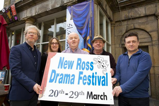 Theatre manager Tomás Kavanagh, festival secretary Sue Sinnott, festival director Paul Crowdle, stage manager Anthony O'Connor and committee member Eamon O'Connor at the launch of the New Ross Drama Festival, which runs from March 20-29