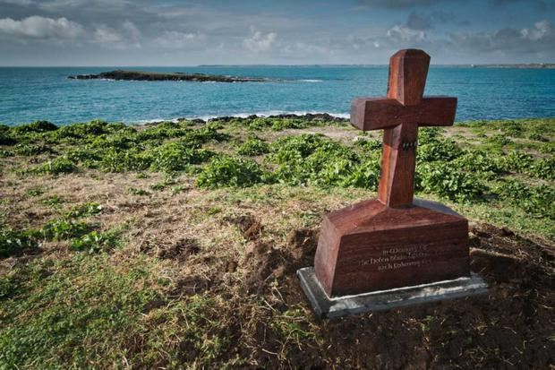 The cross erected on the Keeragh Islands