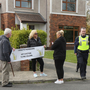 Protestors and gardaí outside the home of Minister Paul Kehoe