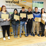 Fran Kennedy, Waterford Wexford Education and Training Board with certificate recipients, Rosie O Donnell, Gemma Kielthy, Jack Hearne, Kevin Richardson, John Paul Connors, Janine Doyle, together with programme coordinators Sinead Colfer and Elaine Juut Jensen