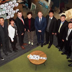 Zeng Wenfeng, Tong Xihong, Liz Stanley, Wexford County Council; Cllr Malcolm Byrne, Dai Chunying, John O'Connor, Hatch Lab CEO; Yang Lingtai, Cai Lixin, Yu Sheng and David Minogue, head of communications, Wexford County Council